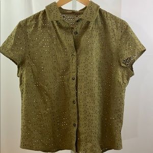 BURBERRY Eyelet Shirt Cap Sleeve Button Down Olive
